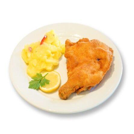 Gebackene Hühnerkeule mit Kartoffelsalat